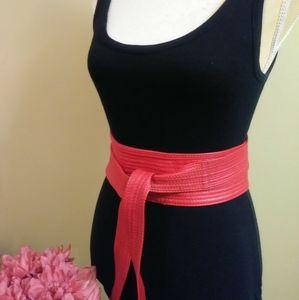 Red Faux Leather Obi Wrap Belt